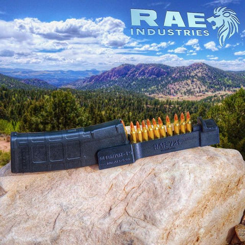 AR-15 M16 Speedloader Magazine Loader. Loads 10 rounds of 223 5.56 in one push! By RAE Industries PN: RAE-721