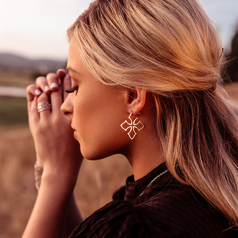 Grace Cross Hoop Earrings