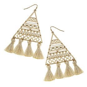 Lattice Beadwork Triangle Tassel Earrings