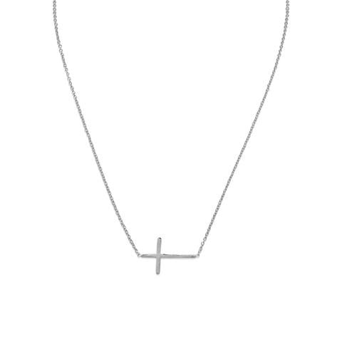Sterling Silver Rhodium Plated  Sideways Cross Necklace