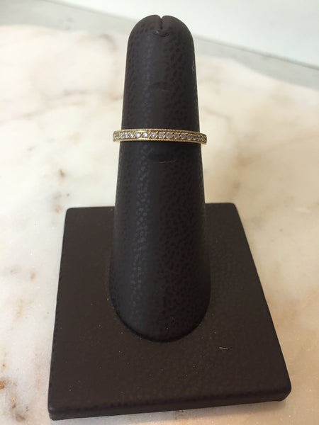 Diamond Milgrain Band |14kt Gold | 1/8 TCW