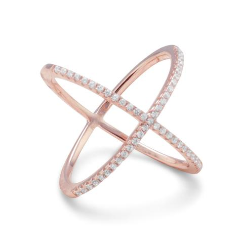 Rose Gold Plated Sterling Silver CZ X Ring