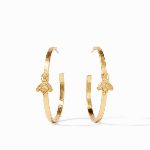 Bee Hoop Earrings in Gold
