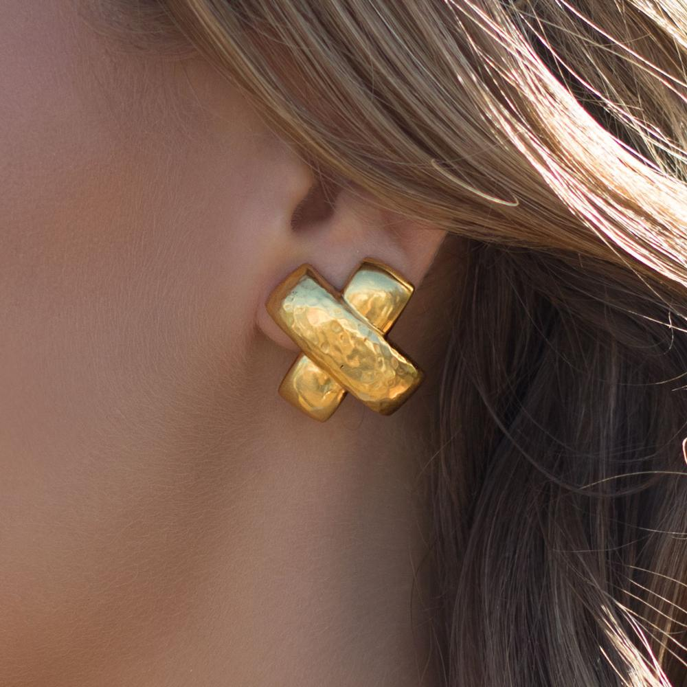Catalina X Clip-On Gold Earrings