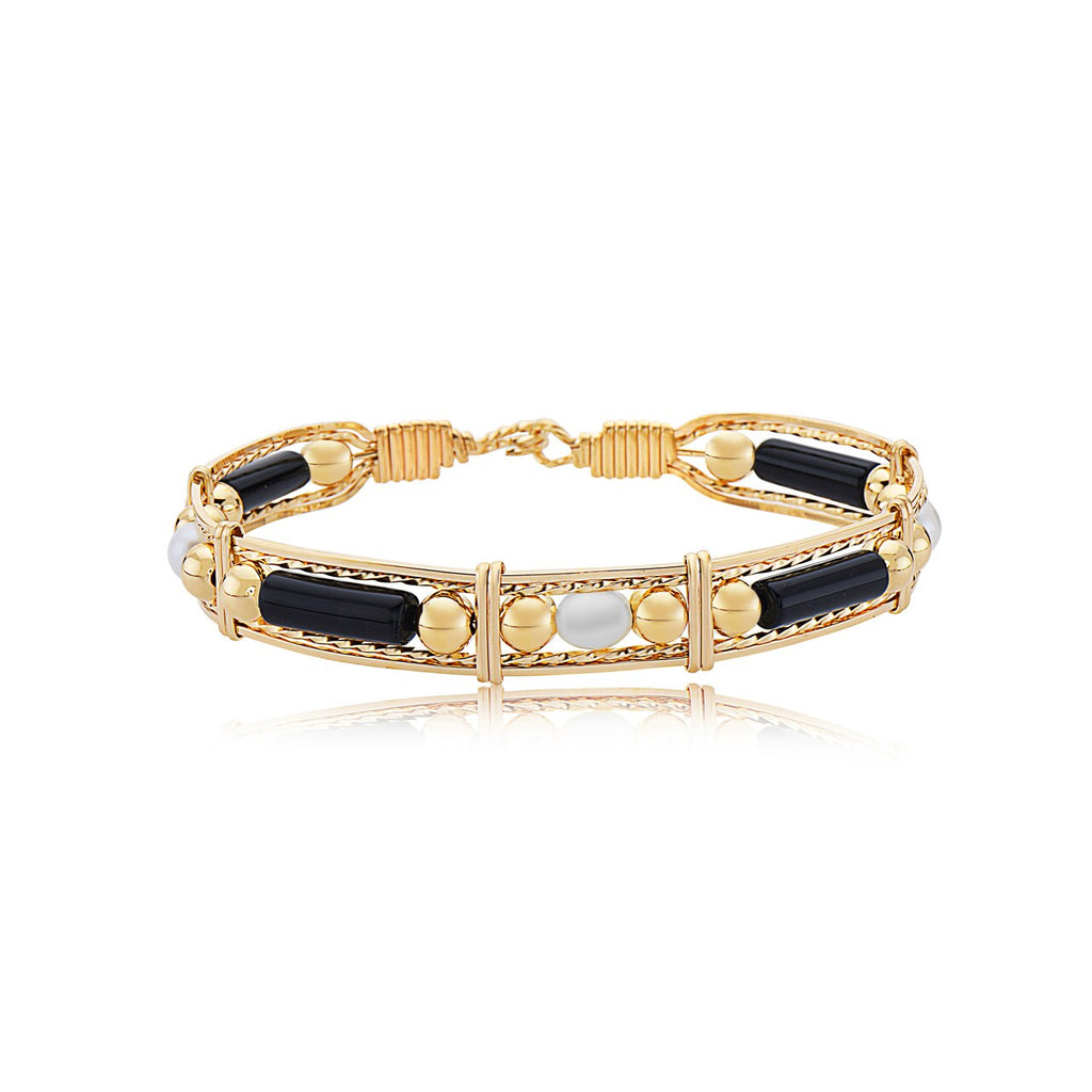 Color Your World Bracelet with Gold Bead & Pearl | Black Onyx