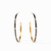 Crescent Stone Hoop Earrings in Mixed Metal & CZ