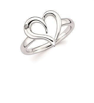Diva Diamonds Open Heart Sterling Silver Diamond Ring