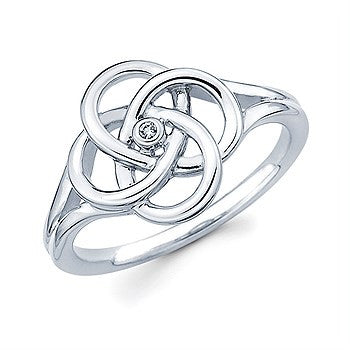 Sterling Silver & Diamond Knot Ring