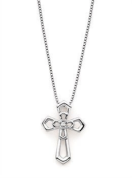 Sterling Silver & Diamond Double Cross Pendant