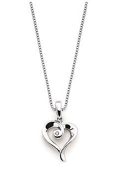 Sterling Silver Heart and Diamond Necklace