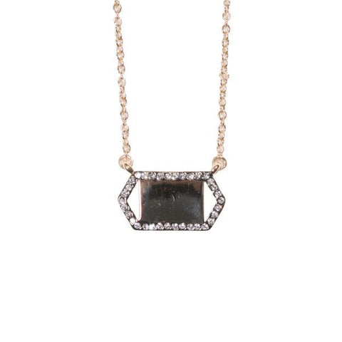 Pave Hematite Necklace with Hematite Bar