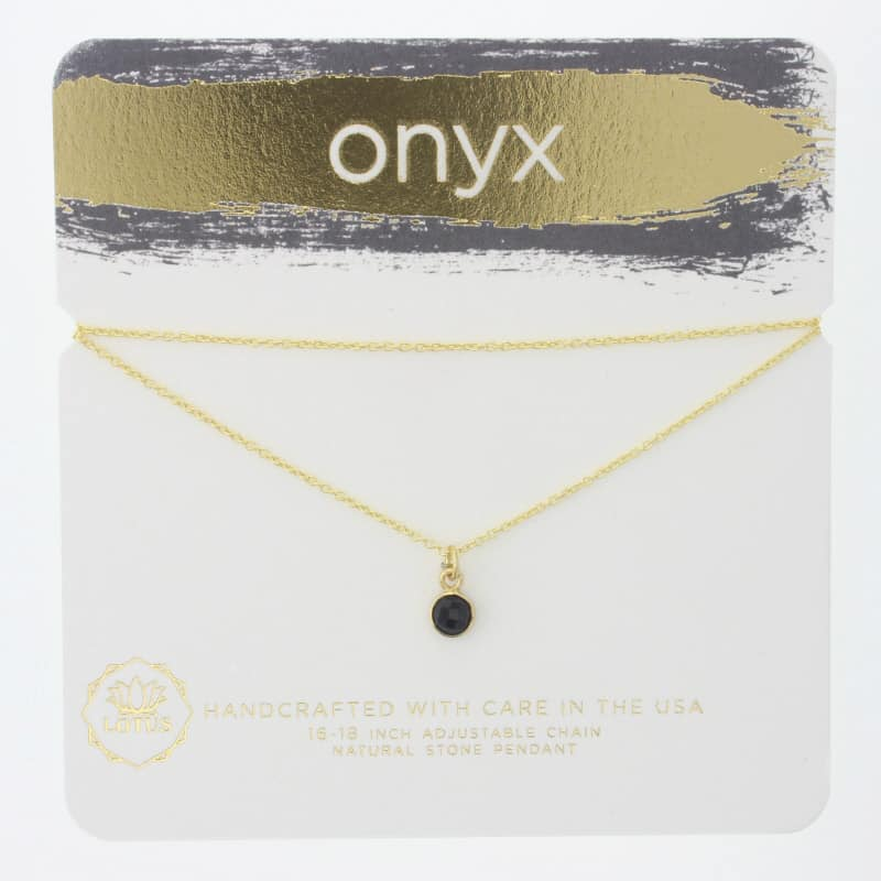 Onyx Gem Carded Necklace
