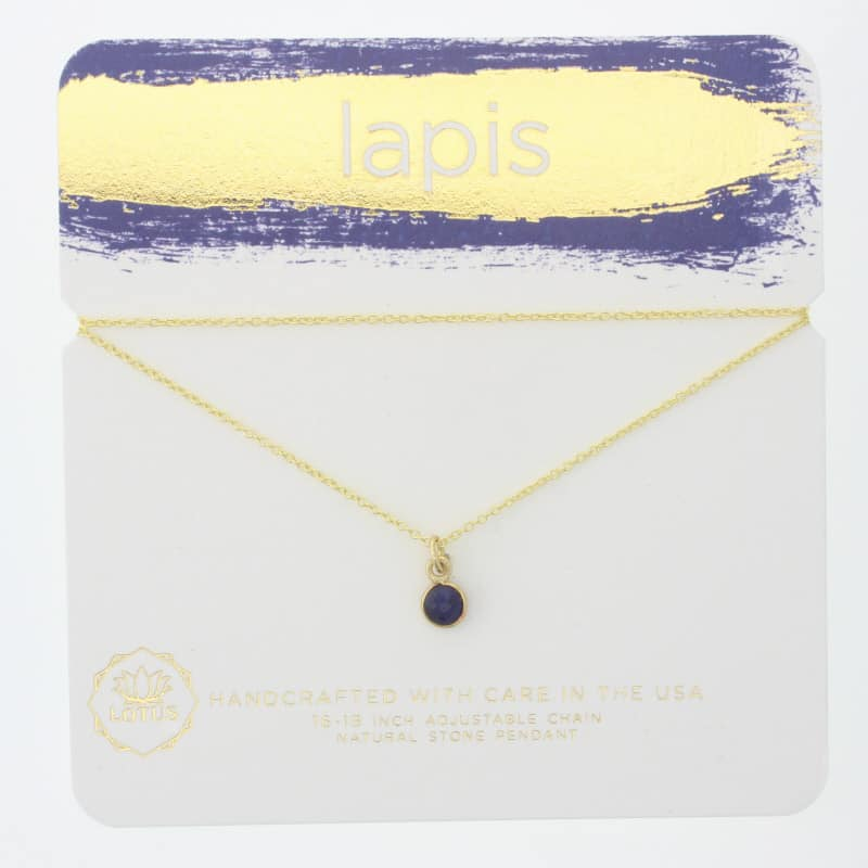 Lapis Gem Carded Necklace