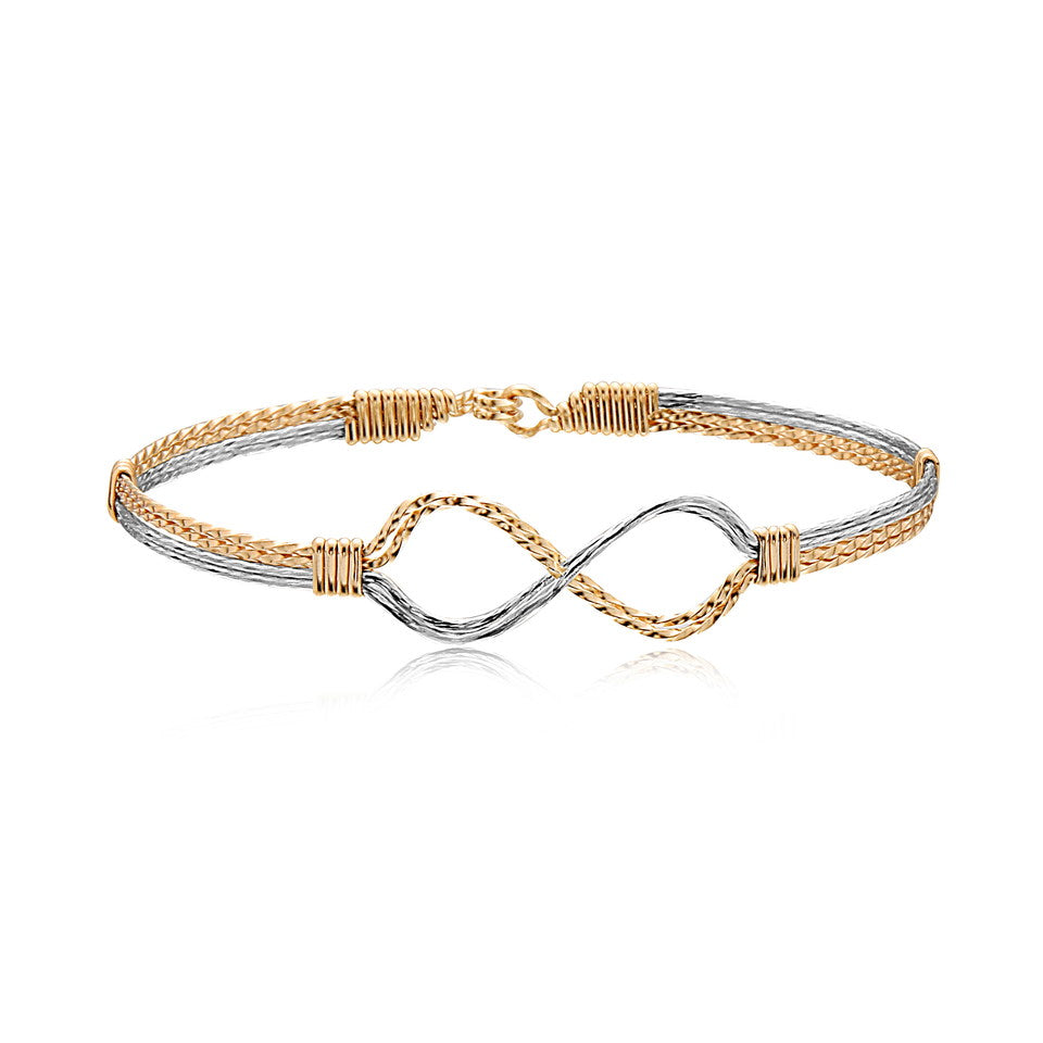 Infinity Bracelet | Two Tone with Gold Wraps