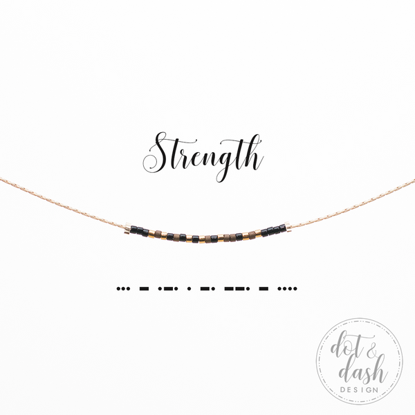 Strength | Morse Code Necklace