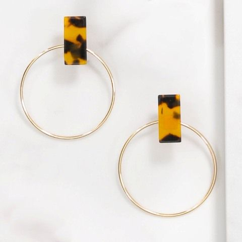 Eden Acrylic Hoop Earrings in Tortoise