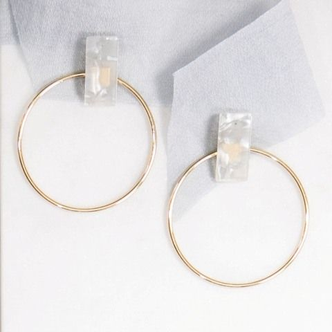 Eden Acrylic Hoop Earrings in White