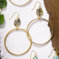 Cypress Gold Hoops with Labradorite