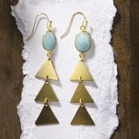 Cypress Amazonite Earrings with Brass Drops