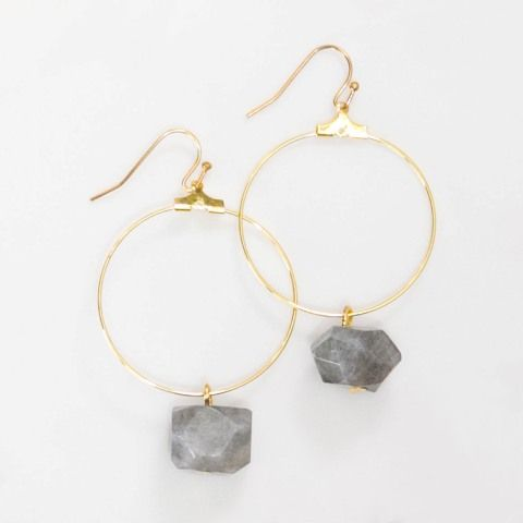 Lark Gold Hoop Earrings in Labradorite