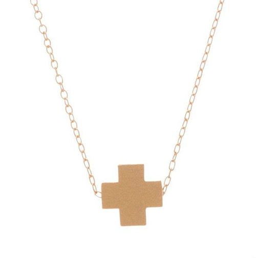 Signature Cross Necklace in Matte Gold