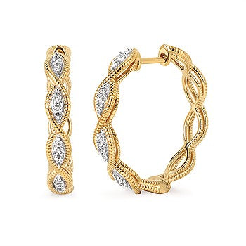 Braided Diamond Hoop Earrings