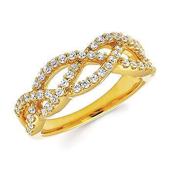 Yellow Gold and Diamond Woven Ring