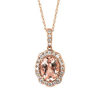 Diamond & Morganite Pendant | 14kt Rose Gold