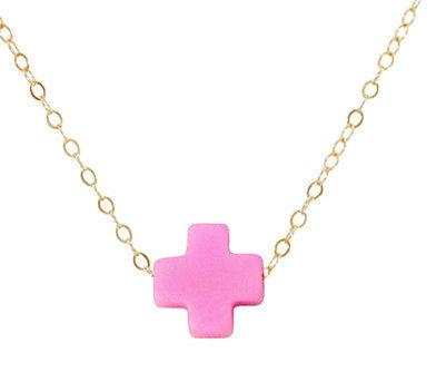 Signature Cross Necklace in Bright Pink