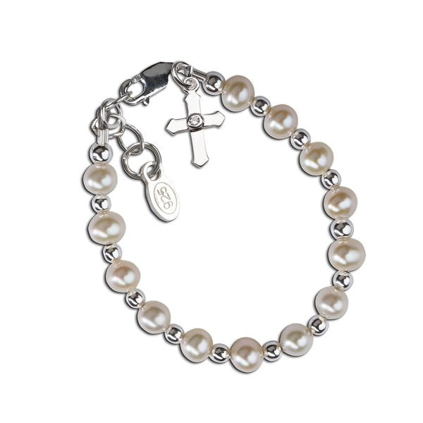 Kaitlyn Pearl Sterling Silver Bracelet with Dangling Cross