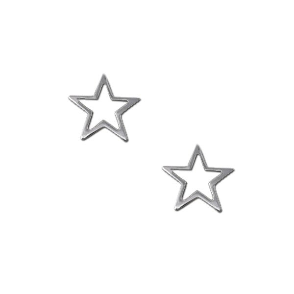 Sterling Silver Hollow Star Earrings