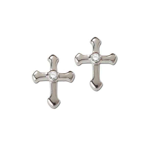 Sterling Silver CZ Cross Earrings
