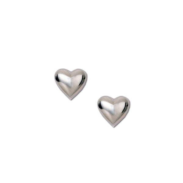 Sterling Silver Puff Heart Stud Earrings