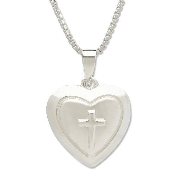 Sterling Silver Heart and Cross Locket Necklace