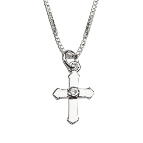 Sterling Silver Cross Necklace with CZ Center