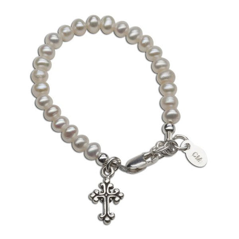 Olivia Pearl Bracelet with Cross