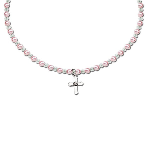 Bella Necklace - Pink Pearls, Crystal & Cross