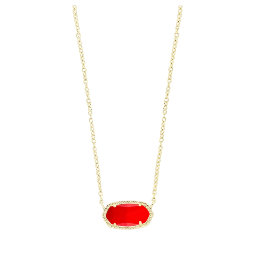 Elisa Gold Pendant Necklace in Bright Red