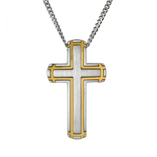 Stainless Steel Two Tone Cross Necklace