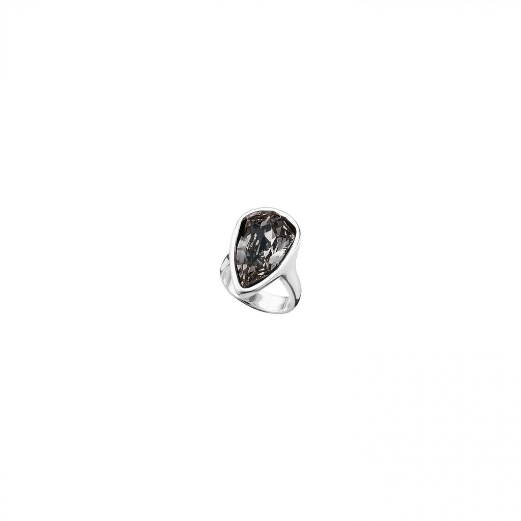 Strut Gray Swarovski Pear Shaped Ring