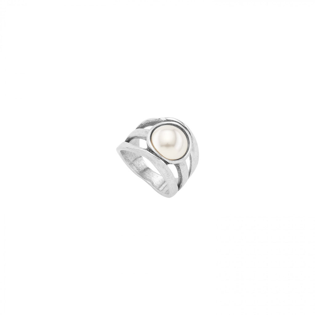 Lucky Strike Silver Pearl Ring