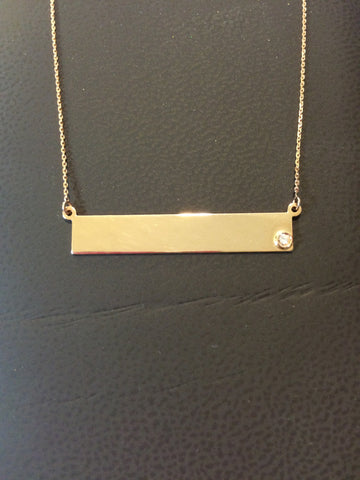 Gold & Diamond Bar Necklace
