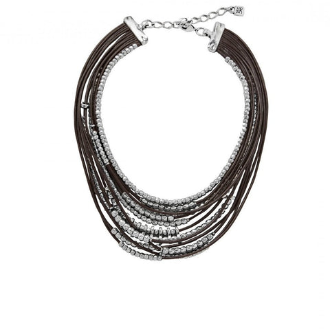 Omariba Leather & Silver Bead Necklace