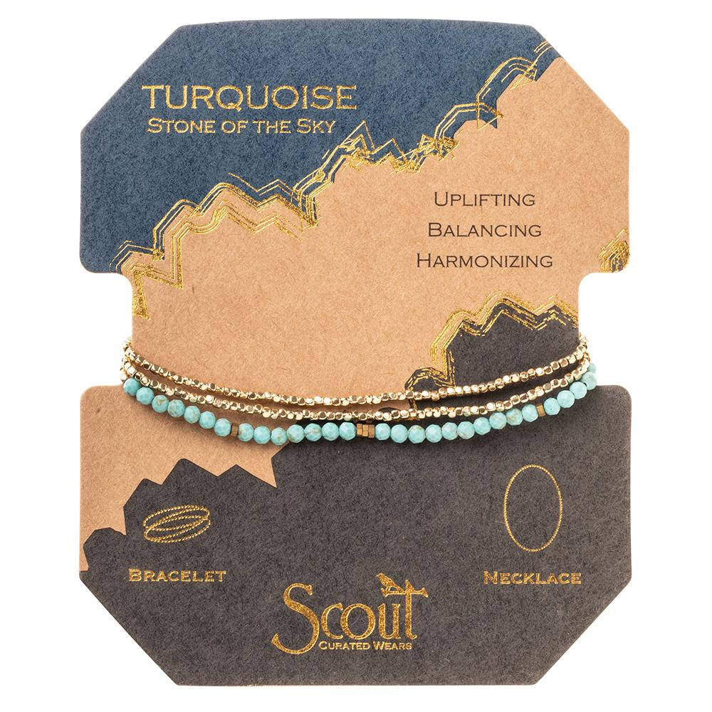 Turquoise Gold Delicate Wrap Bracelet / Necklace