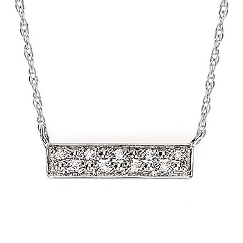 14kt White Gold Diamond Bar Necklace