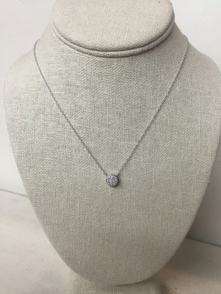 Small Sterling Silver Pave CZ Necklace