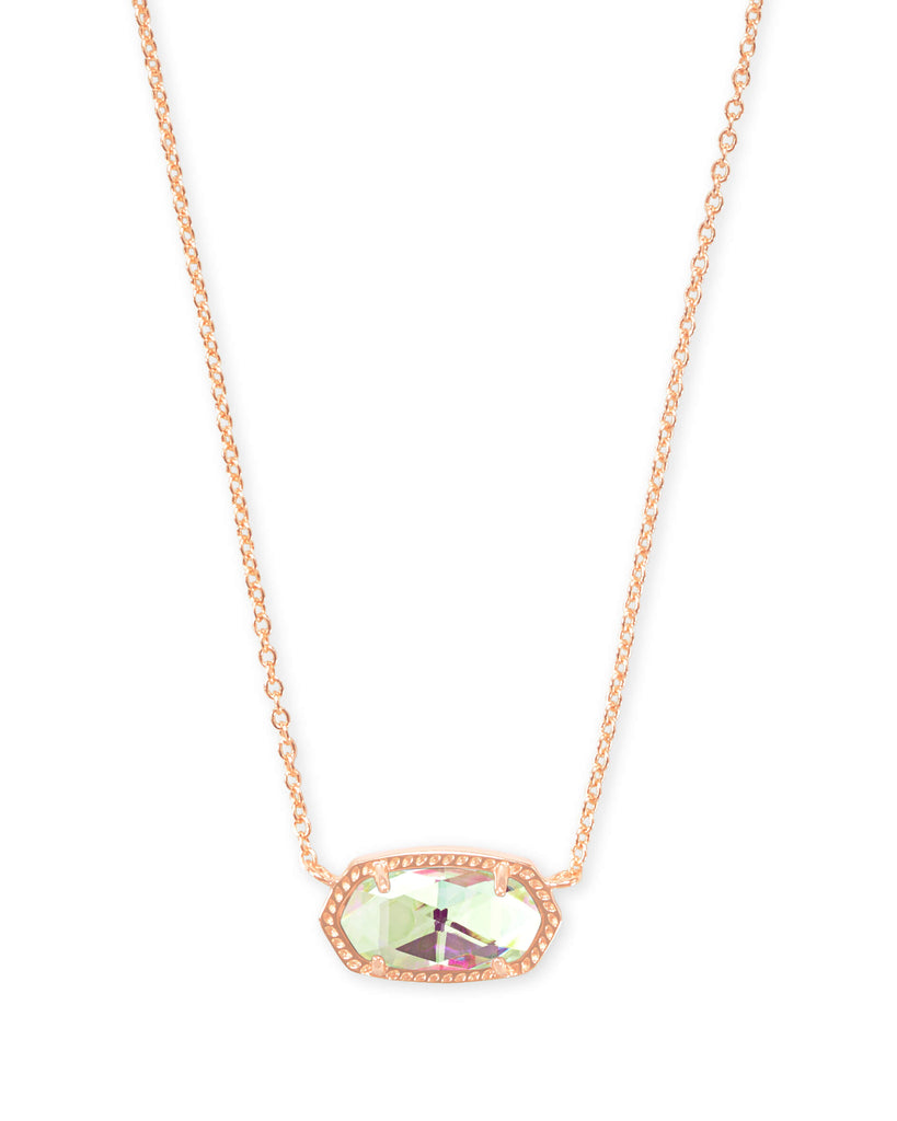 Elisa Rose Gold Necklace In Dichroic Glass