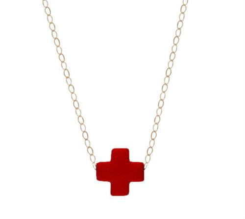 Signature Cross Necklace in Red