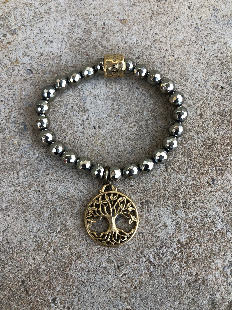 Pyrite Stretch Bracelet with Large Gold Tree of Life Charm