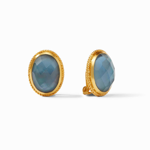 Verona Clip On Earrings in Iridescent Azure Blue